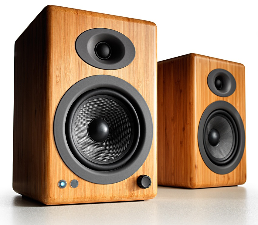 audioengine A5+ Wireless Speakers Bamboo